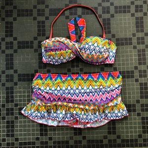 Kenneth Cole Reaction Multi Colored Bikini Size L